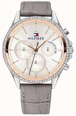 Tommy Hilfiger Bracelet en cuir gris pour femme en cristal serti multifonction 1781980