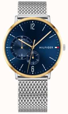 Tommy Hilfiger Boîtier pour homme en acier inoxydable avec cadran bleu et milanais milanese 1791505