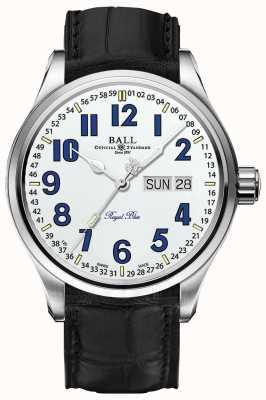Ball Watch Company Affichage date et jour du cadran blanc bleu royal de Trainmaster NM1058D-LL9J-WH