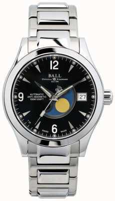 Ball Watch Company Affichage de la date du cadran noir automatique de la phase de lune de l'Ohio NM2082C-SJ-BK