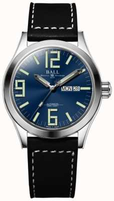 Ball Watch Company Ingénieur ii genèse cadran bleu bracelet en cuir noir jour et date NM2028C-LBK7-BE