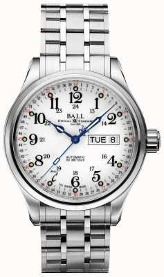 Ball Watch Company Société 60 secondes affichage jour et date de cadran blanc NM1058D-S3J-WH