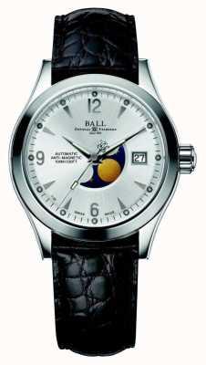 Ball Watch Company Bracelet en cuir avec affichage automatique de la date en argent de phase de lune de l'Ohio NM2082C-LJ-SL