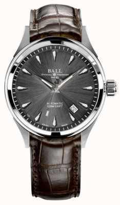 Ball Watch Company Bracelet Trainmaster légende gris sunray bracelet en cuir marron NM3080D-LJ-GY