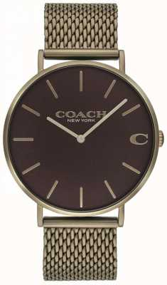 Coach Montre à bracelet en maille bronze pour homme 14602147
