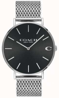 Coach Bracelet homme en argent avec cadran noir 14602144