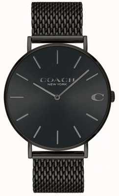 Coach Montre homme en maille noire avec cadran noir 14602148