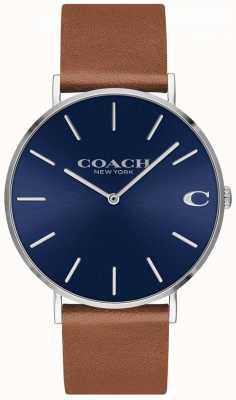 Coach Cadran bleu en cuir marron de Charles 14602151