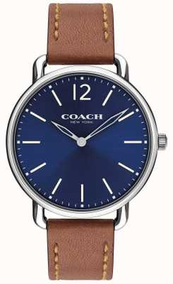 Coach Montre homme delancey slim cadran bleu bracelet en cuir marron 14602345