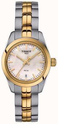 Tissot Mesdames pr100 bracelet deux tons montre cadran en nacre T1010102211100