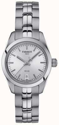 Tissot Montre à cadran argenté avec bracelet en acier inoxydable PR100 pour femme T1010101103100