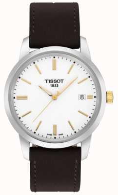Tissot Cadran en cuir marron rêve classique pour homme cadran blanc T0334102601101