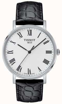Tissot Cadran noir en cuir avec bracelet en cuir noir pour hommes T1094101603301