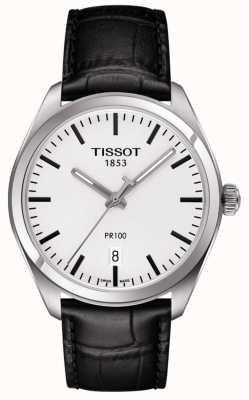 Tissot Bracelet pour homme en cuir noir pr100 avec cadran gris T1014101603100