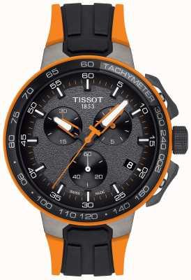 Tissot Bracelet en caoutchouc noir orange pour hommes de cyclisme T1114173744104