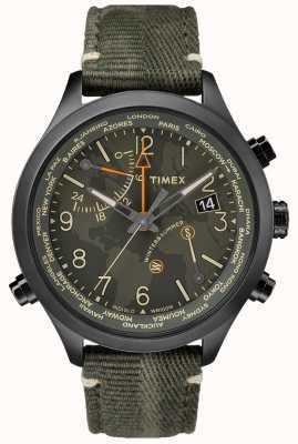Timex Montre en tissu Waterbury, heure du monde, 43 mm TW2R43200VQ