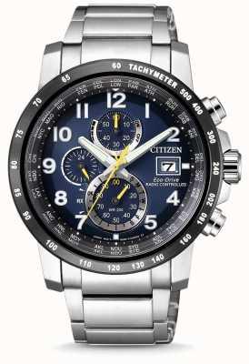 Citizen Mens radio-commandé H800 perpétuel au chronographe cadran bleu en acier inoxydable AT8124-91L