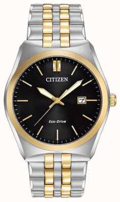 Citizen Montre Corso Eco-Drive en acier inoxydable et or avec cadran noir IP pour homme BM7334-58E