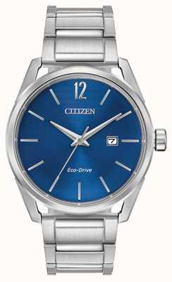 Citizen Affichage de la date du cadran bleu en acier inoxydable pour homme BM7410-51L