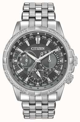 Citizen Cadran Eco en acier inoxydable 32 diamants gris BU2080-51H