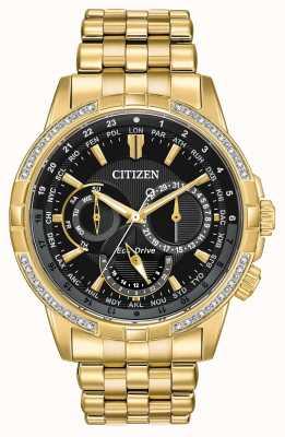 Citizen Homme calendrier eco-drive plaqué or 32 diamants BU2082-56E