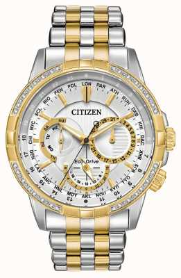Citizen Mens calendrier eco-drive deux tons 32 diamants cadran argent BU2084-51A