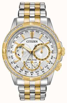 Citizen Cadran argenté homme calendrier eco-drive deux tons 32 diamants BU2084-51A