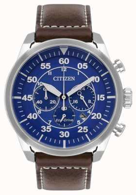 Citizen Bracelet en cuir marron pour homme avec cadran bleu Avion Eco-Drive WR100 CA4210-41L