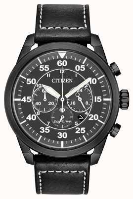 Citizen Avion Eco-Drive cuir noir chronographe à cadran noir pour homme CA4215-21H