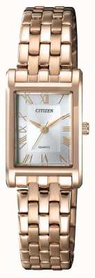 Citizen Cadran rectangulaire argenté pour femme, quartz plaqué or EJ6123-56A