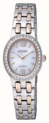 Citizen Eco-drive pour femme | bracelet en acier inoxydable | ensemble de cristal | EX1396-52A