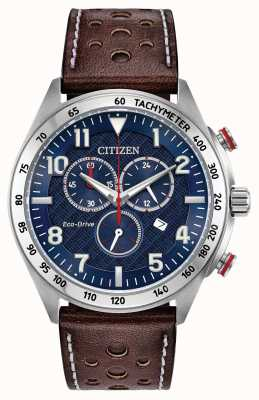 Citizen Cadran bleu eco-drive homme cuir brun chrono 100m AT2418-00L