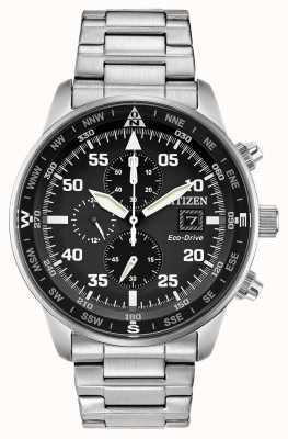 Citizen Aviateur homme eco-drive cadran noir en acier inoxydable chrono 100m CA0690-53E