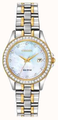 Citizen Montre Regent Diamond Two Tone Eco Drive pour femme EW1844-50Y