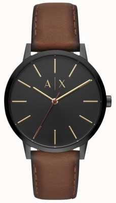 Armani Exchange Cadran en cuir marron homme Cayde cadran noir AX2706