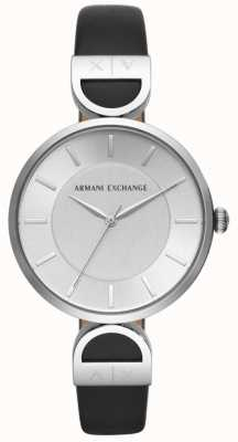Armani Exchange Cadran en cuir noir Brooke pour femme AX5323