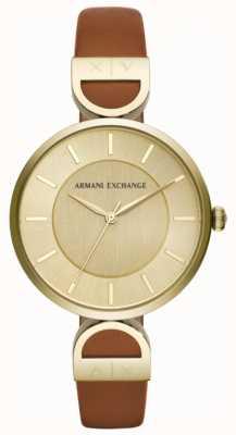 Armani Exchange Bracelet en cuir marron pour femme Brooke AX5324