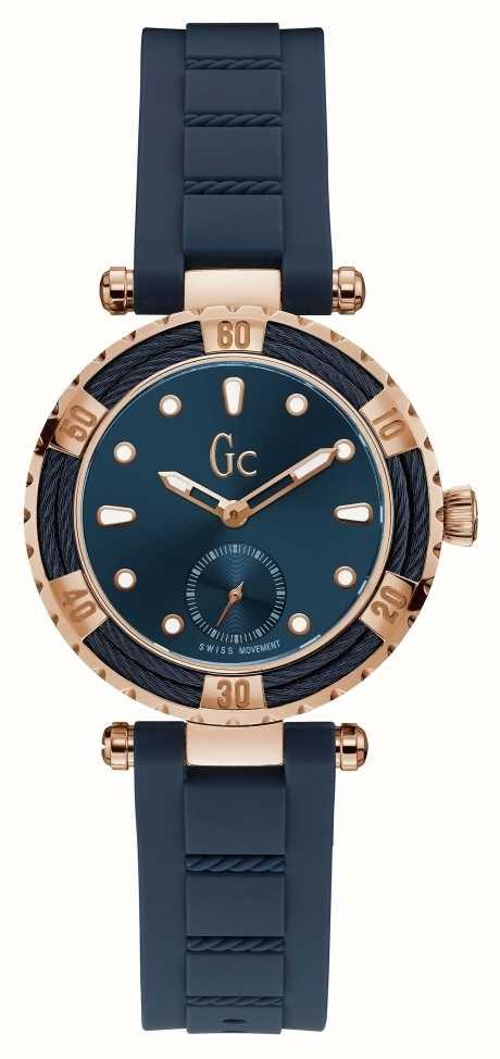 Gc Ladydiver Cable Bleu Bracelet Silicone Bleu Cadran