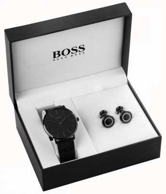 Hugo Boss Ensemble montre homme et bouton de manchette noir 1570067