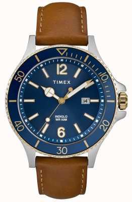 Timex Bracelet homme en cuir marron cadran bleu TW2R64500D