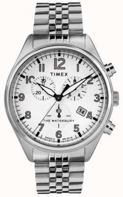 Timex Bracelet en acier chrono blanc traditionnel Waterbury pour homme TW2R88500