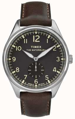 Timex Mens waterbury traditionnel noir cadran noir en cuir TW2R88800