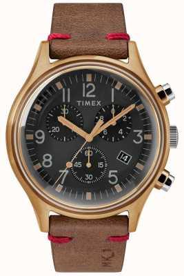 Timex Mens mk1 sst chrono 42mm boitier bronze cadran noir bracelet marron TW2R96300