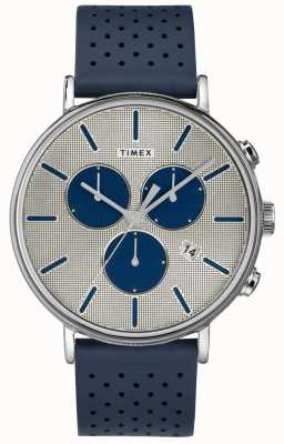 Timex Cadran argent Fairfield chrono supernova homme bracelet bleu TW2R97700
