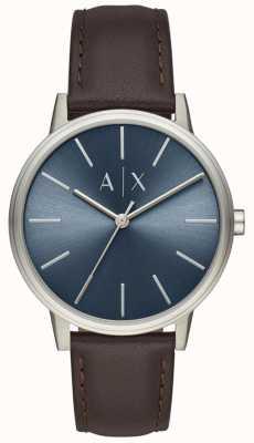 Armani Exchange Cadran en cuir marron pour homme avec cadran bleu AX2704