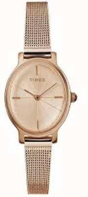 Timex Montre femme milano ovale en maille d'or rose TW2R94300D7PF