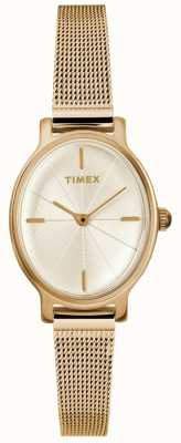 Timex Montre maille ovale en or pour femme TW2R94400D7PF