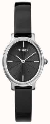 Timex Mesdames milano ovale argent maille montre cadran noir TW2R94500D7PF