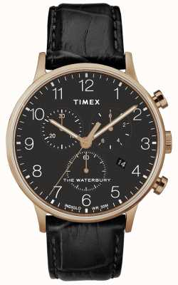 Timex Montre homme waterbury classique en or rose avec bracelet noir TW2R72000D7PF