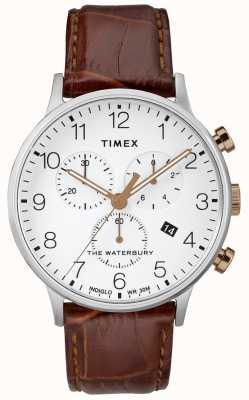 Timex Montre chronographe classique waterbury pour homme avec cadran blanc TW2R72100D7PF